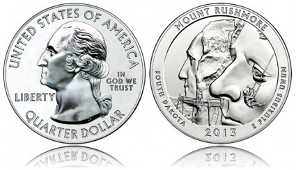2013 Mount Rushmore 5 Ounce Silver Bullion Coin