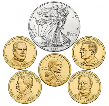 Coins in 2013 United States Mint Annual Uncirculated Dollar Coin Set