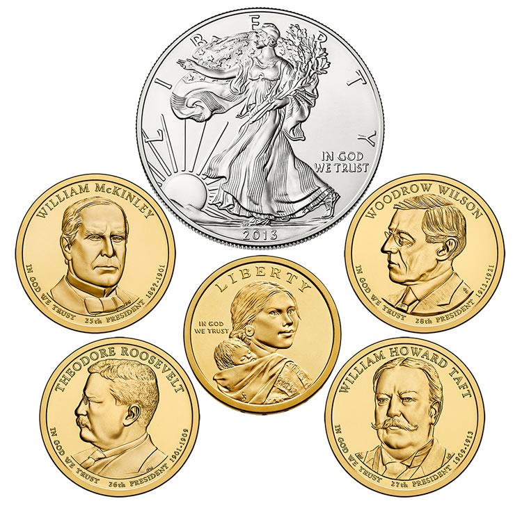 2014 Annual Uncirculated Dollar Set With American Silver Eagle