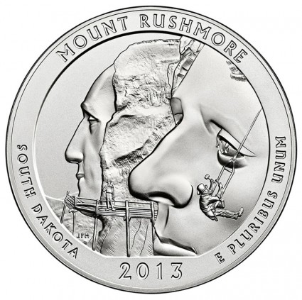 Reverse of 2013-P Uncirculated Mount Rushmore Silver Coin