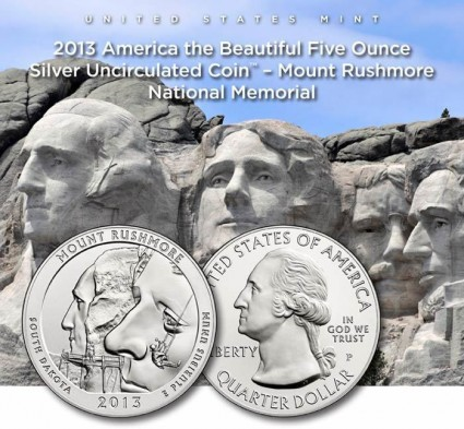 US Mint Promotion of 2013-P Mount Rushmore 5 Ounce Silver Uncirculated Coin