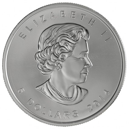 2014 Silver Maple Leaf Bullion Coin (Obverse)