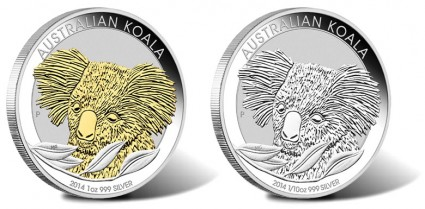 2014 Australian Gilded and 1/10 Oz Koala Silver Coins