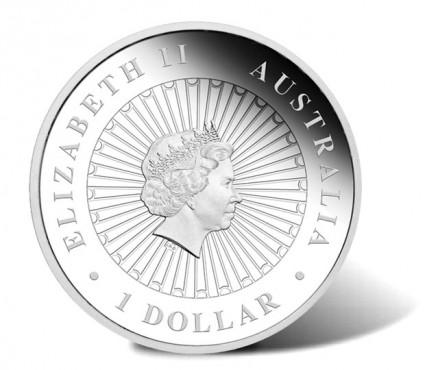 2014 Australian Opal Tasmanian Devil Silver Coin - Obverse