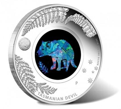 2014 Australian Opal Tasmanian Devil Silver Coin - Reverse