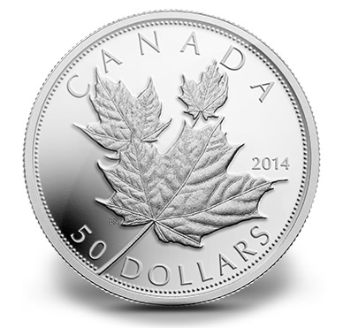 2014 Proof High Relief Maple Leaves 5 oz. Silver Coin