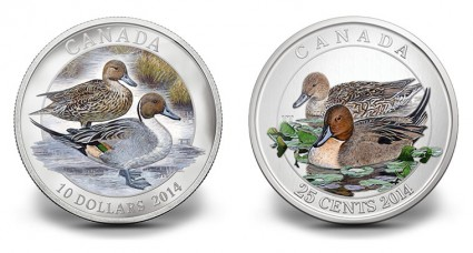 2014 Canadian Pintail Duck Coins - $10 and 25c