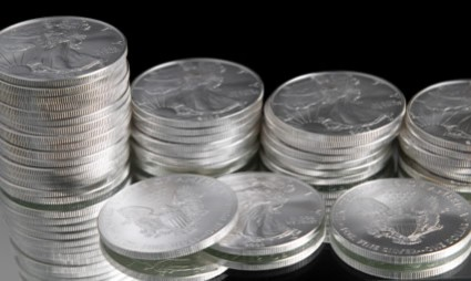 Stacks of American Eagle Silver Coins