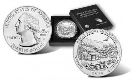 2014-P Great Smoky Mountains 5 Ounce Silver Coin - Obverse, Reverse and Case