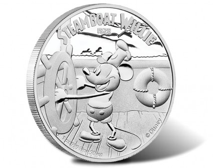 2014 Proof Steamboat Willie Silver Coin with Mickey Mouse