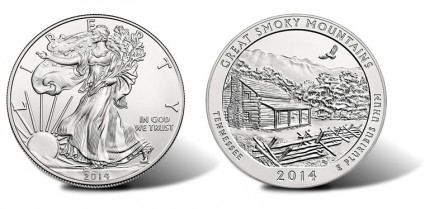 2014-W Uncirculated Silver Eagle, 2014-P Uncirculated Great Smoky Mountains Silver Coin