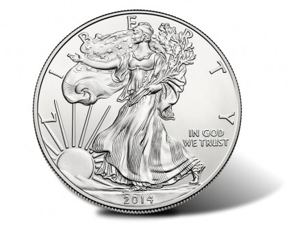 2014-W Uncirculated Silver Eagle Coin - Obverse