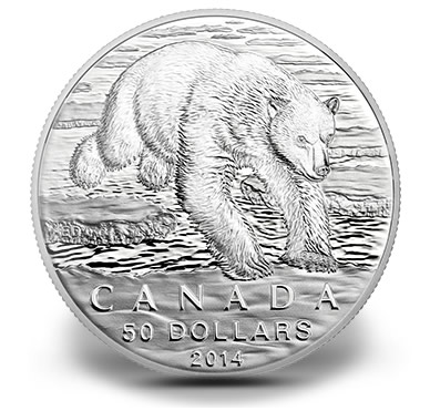 Canadian 2014 $50 Polar Bear Silver Coin - Reverse