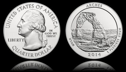 2014 Arches National Park Five Ounce Silver Bullion Coin