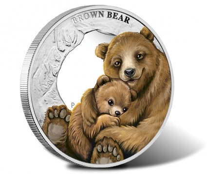 2014 Brown Bear Silver Coin from Mother's Love Series
