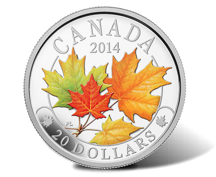 2014 Majestic Maple Leaves Silver Coins With Color And