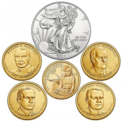 Coins in 2014 United States Mint Annual Uncirculated Dollar Coin Set