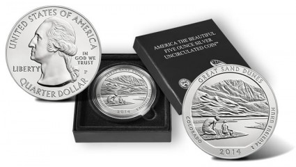 Great Sand Dunes National Park Five Ounce Silver Uncirculated Coin