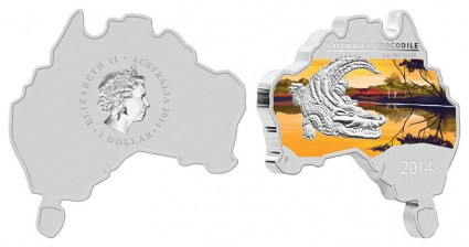 2014 Australian Map Shaped Saltwater Crocodile Silver Coin