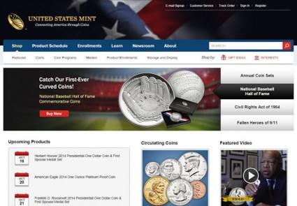 Image of US Mint Website Homepage