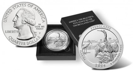2014-P Everglades National Park 5 Ounce Silver Uncirculated Coin - Obverse, Case and Reverse