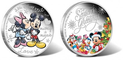 2015 Disney Crazy in Love Silver Coin and 2014 Disney Season's Greetings Silver Coin.