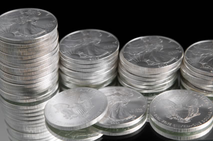 Stacks of American Silver Eagle bullion coins