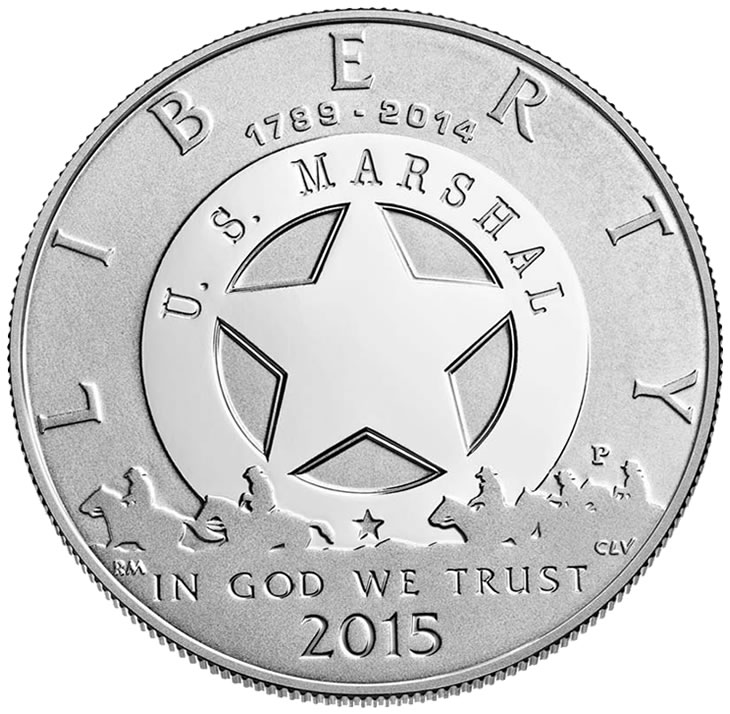 U.S MARSHALS SERVICE 225th ANNIVERSARY 2015 PROOF CLAD HALF DOLLAR WITH COA