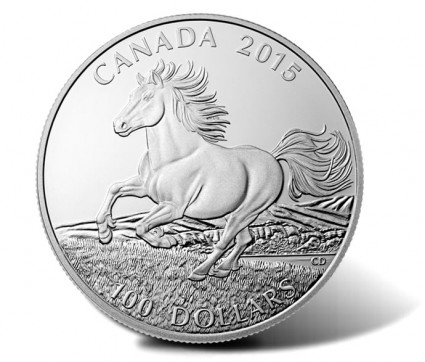 2015 $100 Canadian Horse Silver Coin for $100