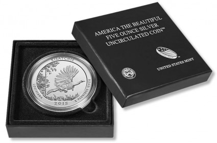 2015 Kisatchie National Forest America the Beautiful Five Ounce Silver Uncirculated Coin and Case