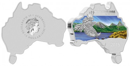 2015 Australian Map Shaped Wedge-Tailed Eagle Silver Coin