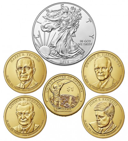 Coins in 2015 United States Mint Annual Uncirculated Dollar Coin Set