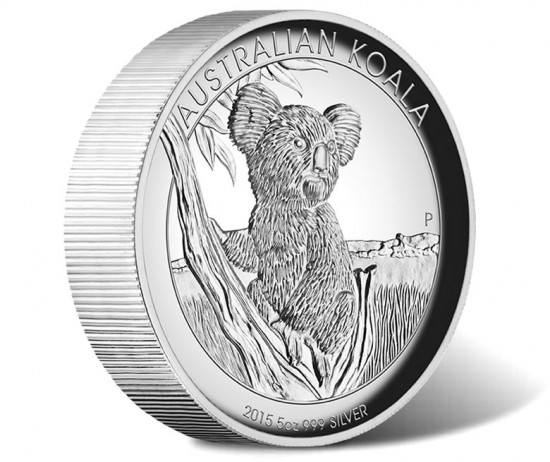 2015 Australian Koala 5 oz High Relief Silver Coin