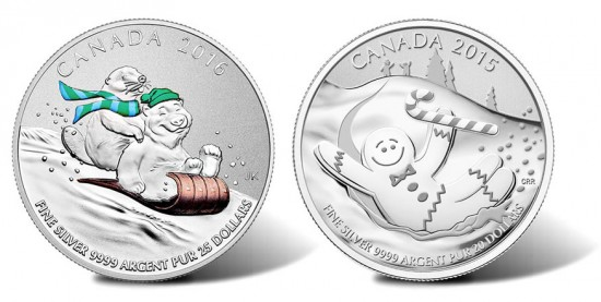 Canadian 2016 $25 Winter Fun Silver Coin, 2015 $20 Gingerbread Man Silver Coin