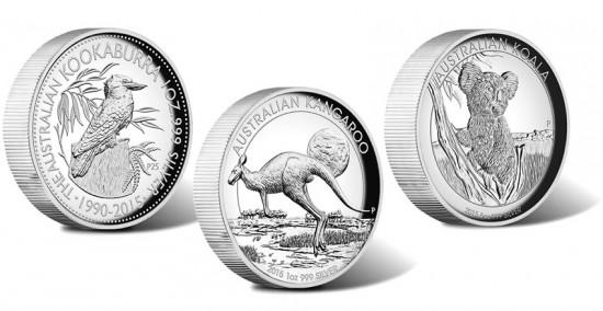 2015 Kookaburra, Kangaroo, Koala High-Relief Silver Coins
