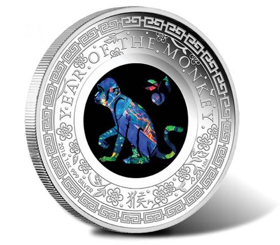 2016 Australian Opal Lunar Monkey Silver Proof Coin