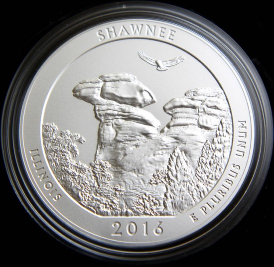 Reverse of the 2016-P Shawnee Five Ounce Silver Uncirculated Coin