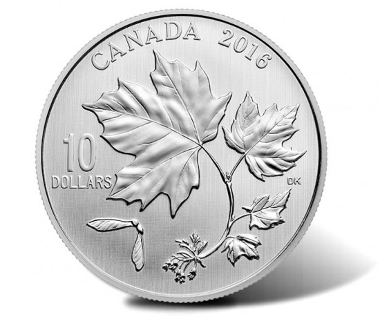 2016 $10 Maple Leaves Silver Coin