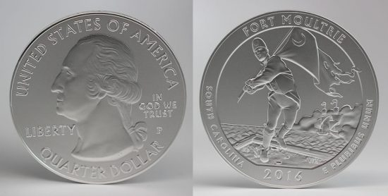 2016-P Fort Moultrie 5 Ounce Silver Uncirculated Coin - Obverse and Reverse