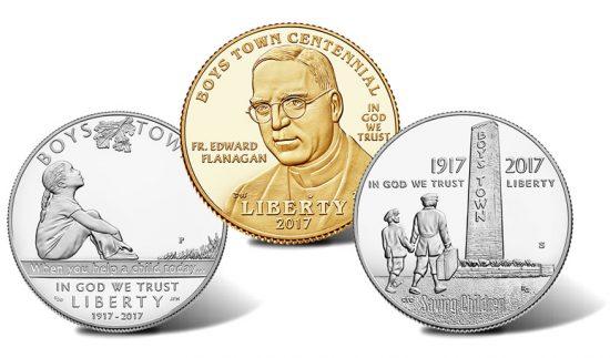 2017 Boys Town Centennial Commemorative Coins - Silver Dollar, $5 Gold Coin, 50c Clad Coin