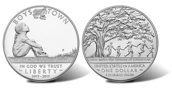 2017 Boys Town Centennial Silver Dollar - Proof Obverse and Uncirculated Reverse