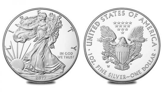 2017-W Proof American Eagle Silver Coin (obverse and reverse)