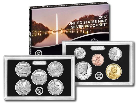 2017 Silver Proof Set - Lenses of Coins and Packaging Box