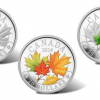2014 Majestic Maple Leaves Silver Coins with Color and Jade