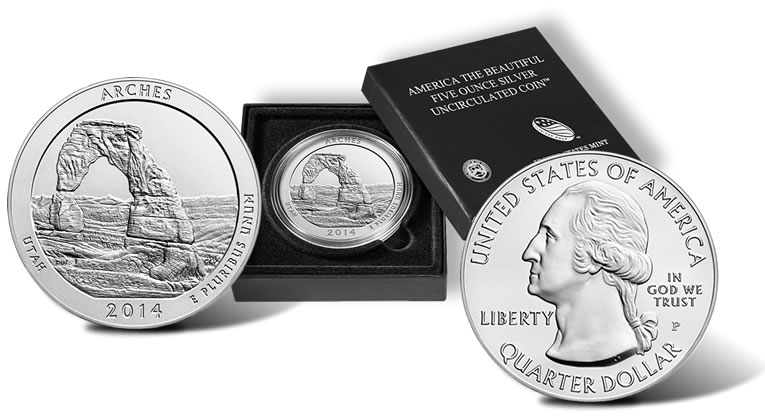 2017 P Arches 5 Ounce Silver Coin Reverse Case And Obverse