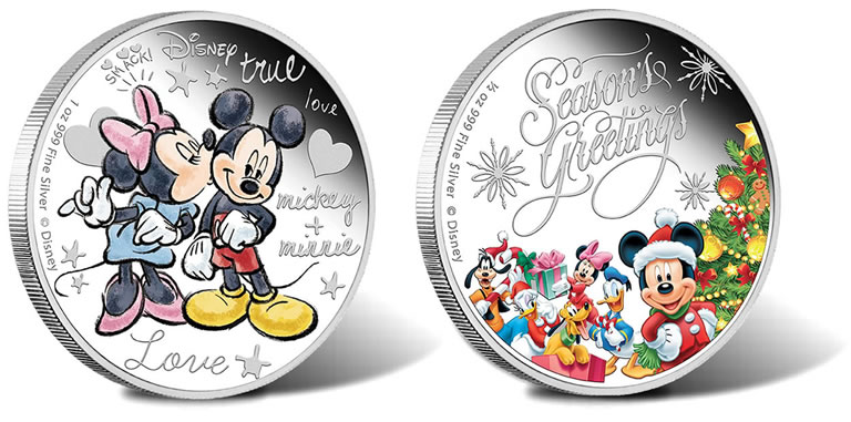 Greetings Themes On Disney Silver Coins